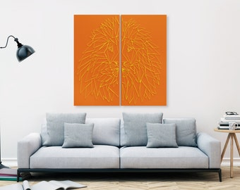 "LINEAR mural ""LEJON"" (deep orange)"