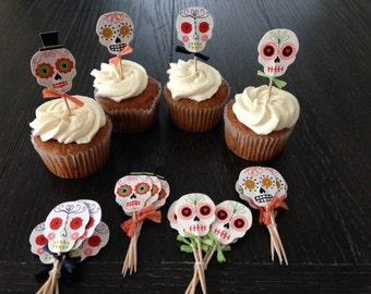 12 Day Of the Dead Dia De Los Muertos Skull Cupcake Toppers Birthday Party