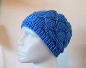 Blue Beaded Knitted Hat