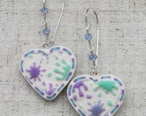 Earrings heart white with blotches of light green, gray blue, light purple polymer clay