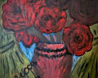 Roses Painting by Rebecca Acrylic colors
