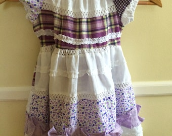 handmade purple patchwork dress for girls {size 4}