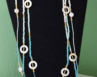 Ombre blues, white and gold long necklace