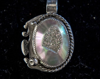 Opalized Druzy Quartz and Sterling Silver Pendant