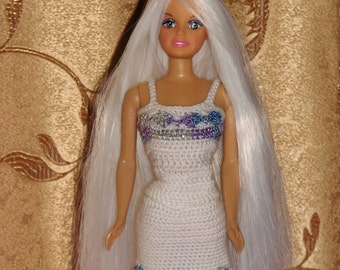 HandMade Barbie Clothes, knitted crochet white suit for the Barbie