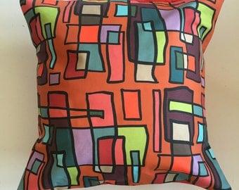 Bright Lights Big City Decorative Pillow-16x16-Throw Pillow-Pillow Cover-Multi-Red-Interior-Design-Fabric-Art-Decorating-Home Decor
