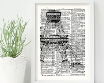 Eiffiel tower Vintage -Neo retro, Dictionary Sheet, Paris, France, elegant-