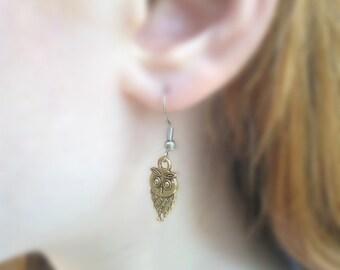 Golden owl earring