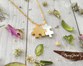 Puzzle necklace, gold puzzle jewelry, tiny charm necklace, gold and silver plated puzzle necklace, friendship gift, birthday gift