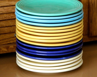 Vintage Original FIESTA WARE Bread & Butter Plates--6 inches-- by the Homer Laughlin Company