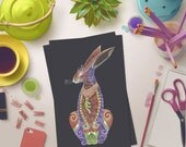 Hare Greeting Card, Easter Bunny Card, Hare Card, Bunny Greeting Card, Rabbit card, Colourful Hare blank card, Easter Greeting Card