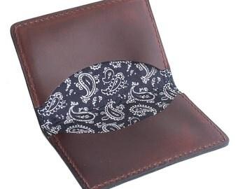 Navy Paisley Fold Wallet, Mens, Horween