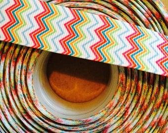 7/8 multi colored chevron - spring ribbon -  craft supplies - grosgrain ribbon - chevron ribbon - colorful ribbon - wholesale - bow making