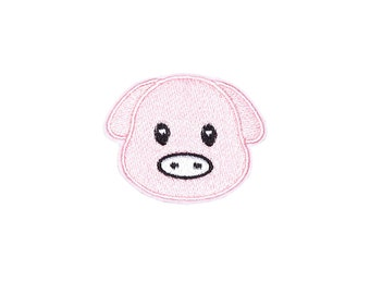 Pig Patch Iron On Embroidered Patches Applique Embroidery • Emoji Cute Piggy Funny Pink
