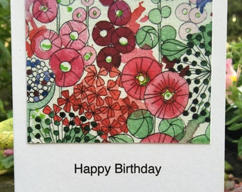 Hollyhocks Greetings Card