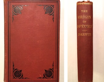 On the Origin of Species by Means of Natural Selection - Charles Darwin (6th Edition 1873 Hardcover with Foldout Chart) Evolution