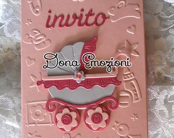 """Greeting card / invitation """"baby carriage"""" for births or baptisms/christenings"""