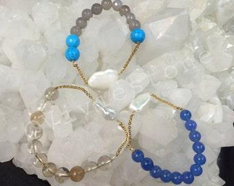 Summer bracelet - Bracelet of semi-precious stones - gold - plated chain various Quartz - Quartz rutile - Agate - Turquoise - pink Moonstone