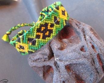 Friendship Bracelet, Woven Bracelet, Knotted Anklet, Green Black Yellow Friendship Bracelet, Knotted Bracelet, Macrame Bracelet (006/2)