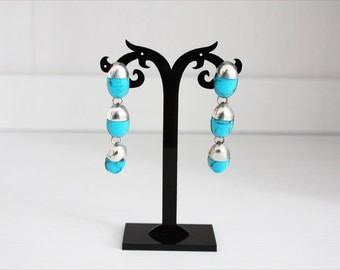 Vintage earrings in silver, turquoise and silver, years ' 80 from Mexico