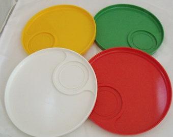 Ingrid Stacking Snack Trays Set of Four Plastic Vintage Picnic  (63)