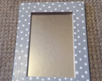 Grey and white polka dot painted mirror