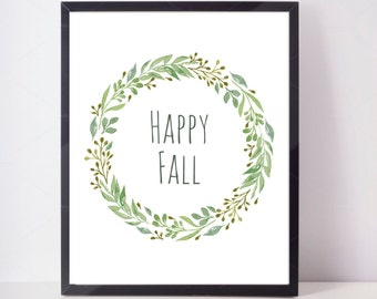 Happy Fall Print, Fall Print, Fall Wreath Print, Fall Leaves Art, Watercolor Wall Art, Home Decor, Autumn Decor, Autumn Art, Autumn Print