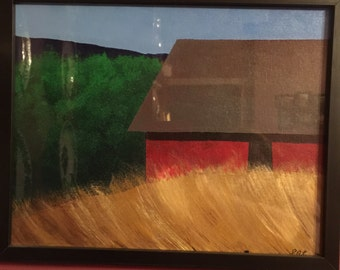 Red house on hill acrylic painting