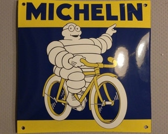 French enameled bombed arched MICHELIN sign metal vintage