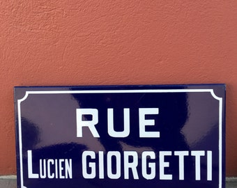 Old French Street Enameled Sign Plaque - vintage giorgetti 2