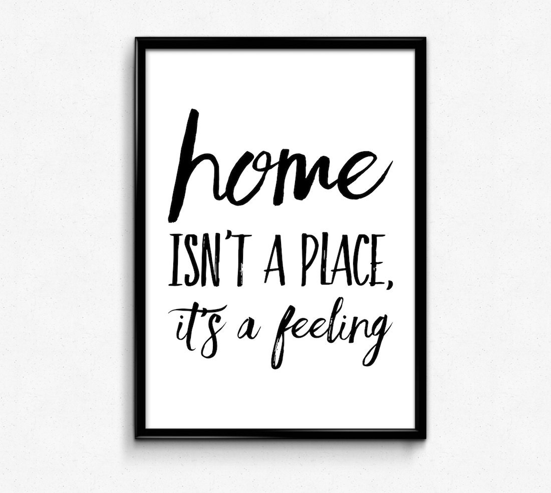 Home Isn't A Place It's A Feeling Printable Poster