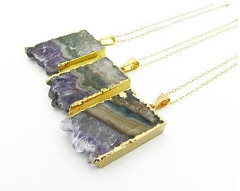 Brazilian Raw Amethyst Slice Necklace, 24K Gold Plated Edge, Pendent Necklace, February Birthstone Necklace, Amethyst Druzy Necklace