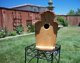 Handcrafted cedar birdhouse  #106 FREE SHIPPING