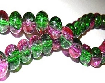 30 Cracle - 8 mm - Green - pink / J1-0705