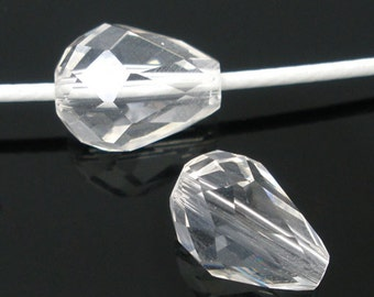 """10 glass beads """"drops"""" - 11 * 8 mm - crystal / R1 - 0683"""