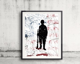 Soldier Art Print Military Tribute Art Combat Soldier Painting American Army Soldier Silhoutte Poster Fallen Soldier US Military Gift Idea