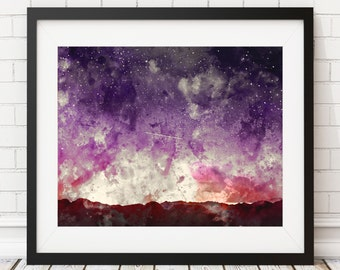Shooting Star Print -Star Print, Star Art, Night Sky Painting, Starry Sky Wall Art, Watercolor Painting, Watercolor Art, Watercolor Print