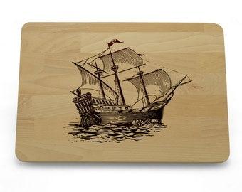 Cutting Board Rustic Ship, Unique Gift, Beech Cutting Board Ship
