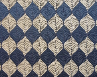 Drapery/Upholstery Jacquard Fabric Percy 444 Midnight By The Yard