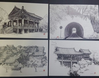 Korea Jeonju Tourist Spot Attraction Post Card 6Sheets Collection 1