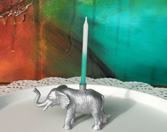 Silver Elephant Cake Topper / Birthday Candle Holder