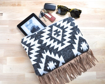 Boho Aztec Print Clutch or iPad Case