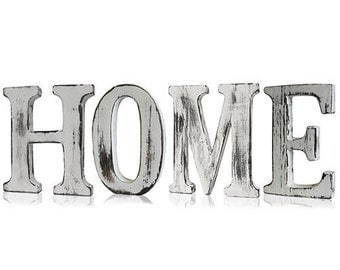 "Shabby Chic letter, ""Home"", white, wood, wood letters, home accessories, 15 cm"