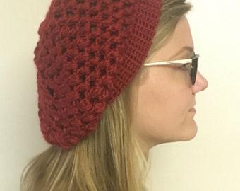 Red Crochet Super Slouchy Beanie