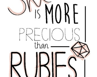 She Is More Precious Than Rubies- Proverbs 3:15 Large Art Print, Living Room Fine Art Print, Vertical Modern Art- DIGITAL COPY
