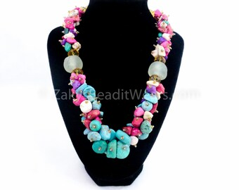 Single Strand Cluster Necklace with smooth crystal chippings