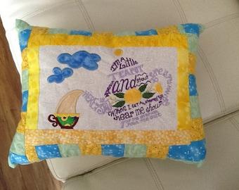 Tea Pot, machine embroidery, girls, baby, nursery room, nursery rhyme, pillow.