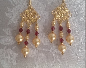 Swarovski Crystal and Pearl Chandelier Earrings Siam Burgundy Gold
