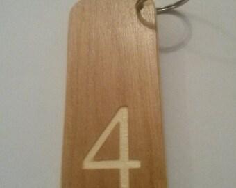 hotel room key caravan business door extra LARGE WOODEN KEYRING personalised motel b&b engraved