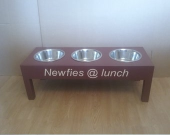 wooden PERSONALISED FEEDING STATIONS large dogs elevated stand raised single double or triple stainless steel bowls ideal Christmas gifts